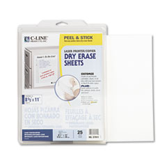 Peel and Stick Dry Erase Sheets, 8 1/2 x 11, White, 25 Sheets/Box
