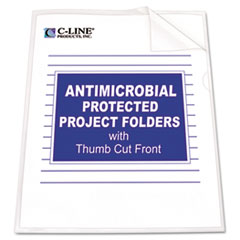 C-Line Antimicrobial Project Folders, Jacket, Letter, Polypropylene, Clear, 25/Box