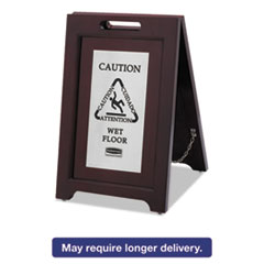 RCP 1867508 Rubbermaid Commercial Executive 2-Sided Multi-Lingual Wooden Caution Sign RCP1867508