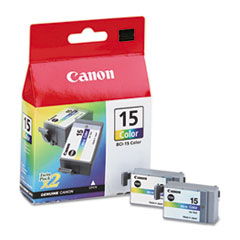 Canon BCI15 (BCI-15) Ink Tank, 130 Page-Yield, 2/Pack, Tri-Color
