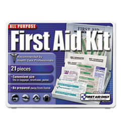 First Aid Only™ FIRST AID KIT 21PC TRAVEL All-Purpose First Aid Kit, 21 Pieces, 4 3-4 X 3 X 1-2, Blue-white