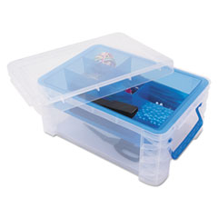 "Advantus BOX STORAGE 6 COMP CLR SUPER STACKER DIVIDED STORAGE BOX, 6 SECTIONS, 10.38"" X 14.25"" X 6.5"", CLEAR-BLUE"