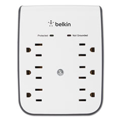 Surgeplus Usb Wall Mount Charger, 6 Outlets; 2 Usb, White