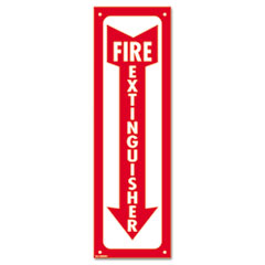 COSCO Glow-In-The-Dark Safety Sign, Fire Extinguisher, 4 x 13, Red