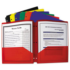 C-Line® FOLDER 2-PKT POLY PORT Two-Pocket Heavyweight Poly Portfolio Folder, 3-Hole Punch, Letter, Assorted