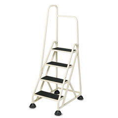 Cramer Four-Step Stop-Step Folding Aluminum Handrail Ladder, Beige