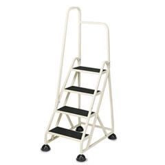 Cramer Four-Step Stop-Step Folding Aluminum Handrail Ladder, Beige