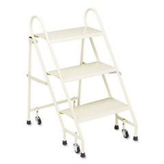 Cramer Steel Folding Three-Step Ladder w/Retracting Casters, Beige