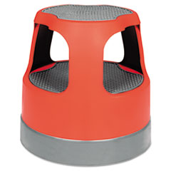 Scooter Stool Round, 15&quot;, Step &amp; Lock Wheels, to 300 lbs, Red
