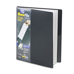 Cardinal Spine Vue ShowFile Display Book w/Wrap Pocket, 24 Letter-Size Sleeves, Black