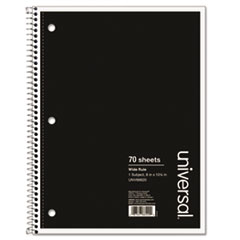 Universal® NOTEBOOK 1SUB8X10.5WR BLK WIREBOUND NOTEBOOK, 1 SUBJECT, WIDE-LEGAL RULE, BLACK COVER, 10.5 X 8, 70 SHEETS