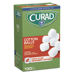 "Curad® FIRST AID COTNBALL 130 WH Sterile Cotton Balls, 1"", 130-box"