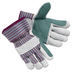 Economy Leather Palm Gloves, Large, Striped