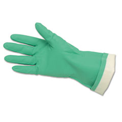 Memphis Flock-Lined Nitrile Gloves, Green, 12 Pairs