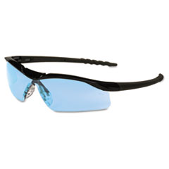 Crews Dallas Wraparound Safety Glasses, Black Frame, Light Blue Lens
