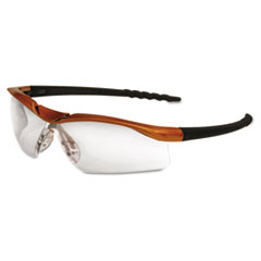 Crews Dallas Wraparound Safety Glasses, Orange Frame, Clear AntiFog Lens