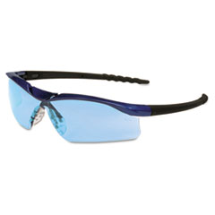 Crews Dallas Wraparound Safety Glasses, Blue Metallic Frame, Light Blue Lens