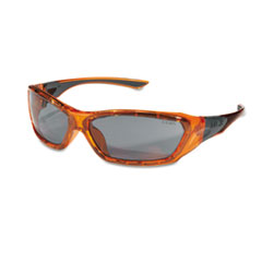Crews ForceFlex Safety Glasses, Orange Frame, Gray Lens