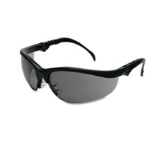 Crews Klondike Plus Safety Glasses, Black Frame, Gray Lens