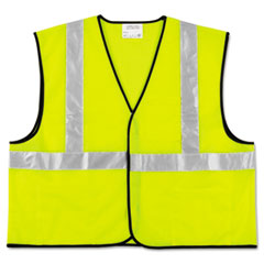 MCR Safety Class 2 Safety Vest, Fluorescent Lime w/Silver Stripe, Polyester, Large