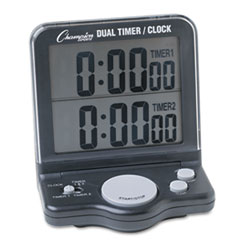 Champion Sports Dual Timer/Clock w/Jumbo Display, LCD, 3 1/2 x 1 x 4 1/2