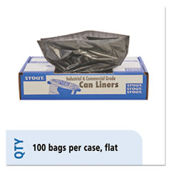 "Stout® by Envision™ LINER 30X39 1.3 MIL BN-BK TOTAL RECYCLED CONTENT PLASTIC TRASH BAGS, 30 GAL, 1.3 MIL, 30"" X 39"", BROWN-BLACK, 100-CARTON"