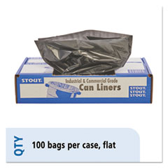 "Stout® by Envision™ LINER 33X40 1.3 MIL BN-BK TOTAL RECYCLED CONTENT PLASTIC TRASH BAGS, 33 GAL, 1.3 MIL, 33"" X 40"", BROWN-BLACK, 100-CARTON"