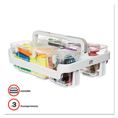 deflecto® STORAGE CADDY ORGANZER WH STACKABLE CADDY ORGANIZER WITH S, M AND L CONTAINERS, WHITE CADDY, CLEAR CONTAINERS