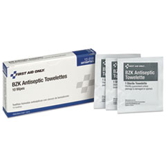 First Aid Only™ WIPES BZK ANTISEPTIC 10 Person Ansi Class A Refill, Bzk Antiseptic Wipes, 10-box