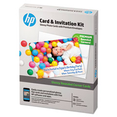 HEW K6B84A HP Card & Invitation Kit for Glossy Rounded Corner Flat Cards HEWK6B84A