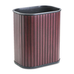 Advantus Rectangular Hardwood Wastebasket, 13qt, Mahogany Stain/Black Liner