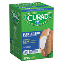 Curad® BANDAGES FLEX FAB 100 AST Flex Fabric Bandages, Assorted Sizes, 100 Per Box