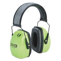 Howard Leight® by Honeywell EARMUFF HI-VISIBLTY HDBND L3hv Hi-Visibility Earmuffs, Reflective Headband, 30nrr, Green-black