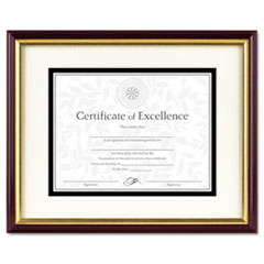 DAX Document/Certificate Frame w/Mat, Laminated Wood, 11 x 14, Mahogany/Gold Leaf