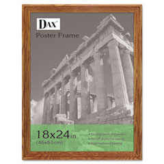 DAX Plastic Poster Frame, Traditional w/Plexiglas Window, 18 x 24, Medium Oak