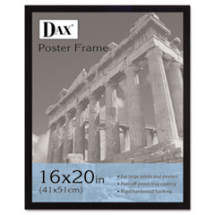 DAX Flat Face Wood Poster Frame w/Plexiglas Window, 16 x 20, Black