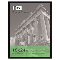 DAX Flat Face Wood Poster Frame w/Plexiglas Window, 18 x 24, Black