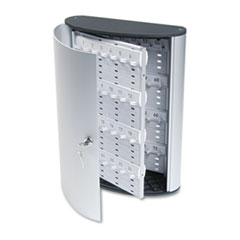 Durable Locking Key Cabinet, 72-Key, Brushed Aluminum, 11 3/4 x 4 5/8 x 15 3/4