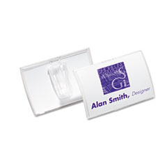 Durable Click-Fold Convex Name Badge Holder, Slip-On Clip, 3 3/w x 2 1/4h, Clear, 25/Pk