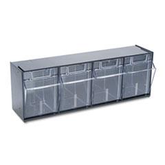 deflect-o Tilt Bin Plastic Storage System w/4 Bins, 23 5/8 x 6 5/8 x 8 1/8, Black