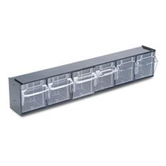 deflecto Tilt Bin Plastic Storage System w/6 Bins, 23 5/8 x 3 5/8 x 4 1/2, Black