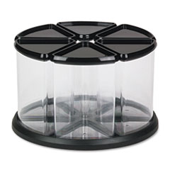 deflect-o 6 Canister Carousel Organizer, Plastic, 11 1/8 x 11 1/8, Black/Clear
