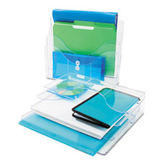 deflect-o Three-Tier Document Organizer, Plastic, 13 3/8 x 3 1/2 x 11 1/2, Clear