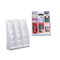 deflect-o Multi-Tiered Desktop/Wall-Mount Literature Holders, 15-3/4w x 5d x 19-3/4h, Gray