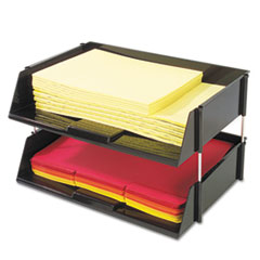 deflect-o Industrial Stacking Tray Set, Two Tier, Plastic, Black
