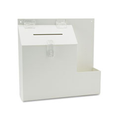 deflect-o Plastic Suggestion Box with Locking Top, 13 3/4 x 3 5/8 x 13, White