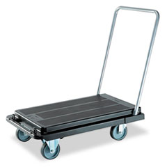 deflect-o Heavy-Duty Platform Cart, 500lb Capacity, 20-9/10w x 32-5/8d x 9h, Black