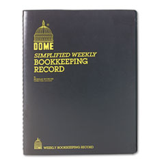 Dome Bookkeeping Record, Black Vinyl Cover, 128 Pages, 8 1/2 x 11 Pages