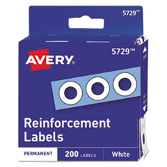 "Avery® REINFORCEMENT 2C-PK DISPENSER PACK HOLE REINFORCEMENTS, 1-4"" DIA, WHITE, 200-PACK, (5729)"