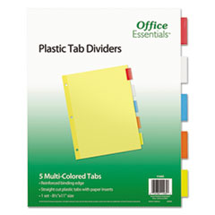 Office Essentials™ INDEX ECO BND LTR 5CLR-ST Plastic Insertable Dividers, 5-Tab, Letter